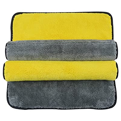 SINLAND Ultra Thick Plush Microfiber Car Cleaning Towels Buffing Cloths Super Absorbent Drying Auto Detailing Towel 1000gsm 16