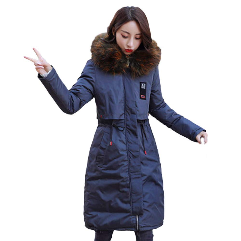 NEARTIME ❤️Women's Long Down Jacket, Fashion Winter Warm Faux Fur Coat Hooded Thick Slim Jacket Zipper Overcoat