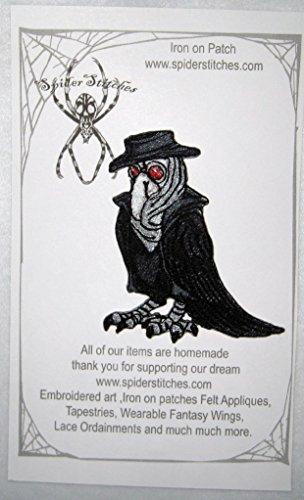 Plague Dr Doctor Raven Crow Black Bird Steam Punk Iron on Patch Plague -