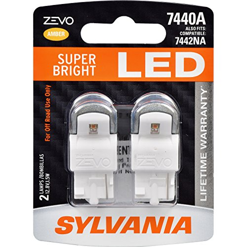 SYLVANIA - 7440 T20 ZEVO LED Amber Bulb - Bright LED Bulb, Ideal for Park and Turn Signals (Contains 2 Bulbs)