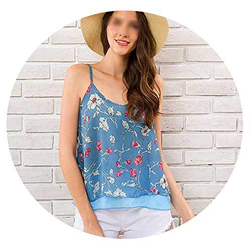 Lady's beauty store Sleeveless Tank Top Summer Camis V-Neck Floral Print Casual Shirt Spaghetti Strap Shirt,Floral Blue Shirt,XL