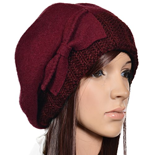 Wimdream Women's 100% Wool Cloche Hat For Winter C020 (Hy022-Claret)