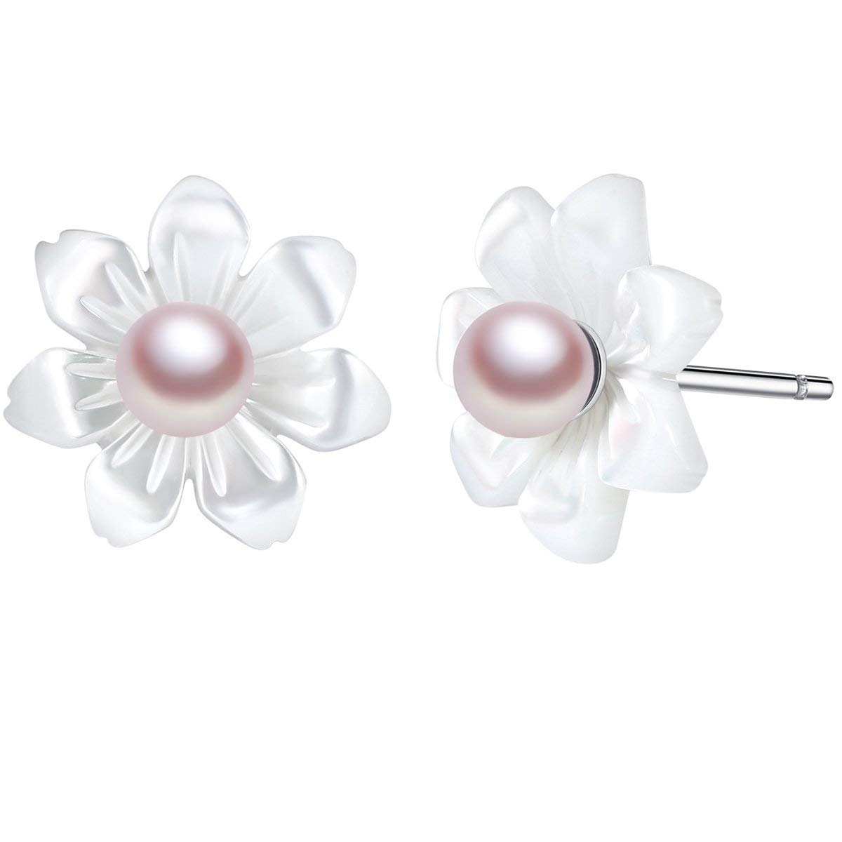 Cute White Shell Flower Sterling Silver Stud Earrings for Girls [7 Petals]