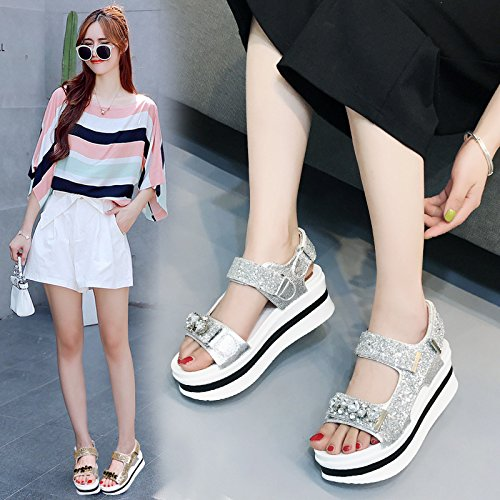 With Soles Shoes Sandals silvery Of Muffin Sandals AGECC Thick fw1xAxS
