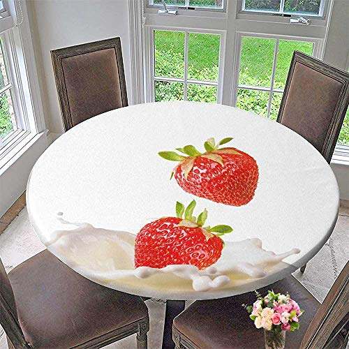 (PINAFORE HOME Modern Simple Round Tablecloth Strawberries Milk Decoration Washable 67