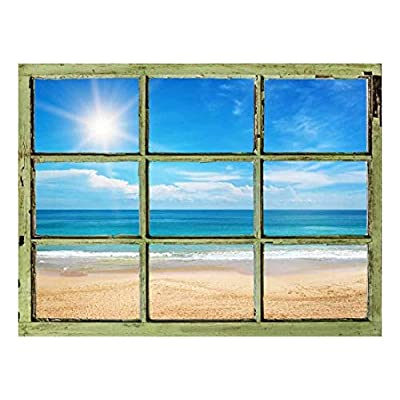 Window View Wall Mural Blue Calm Ocean Under Sunny Sky Vintage Style Wall Decor Peel and Stick Adhesive Vinyl Material, Premium Creation, Unbelievable Technique