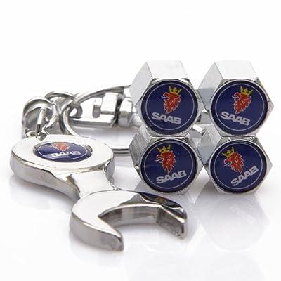 D&R® Wrench Keychain Chrome Tire Valve Stem Caps For Saab: Automotive