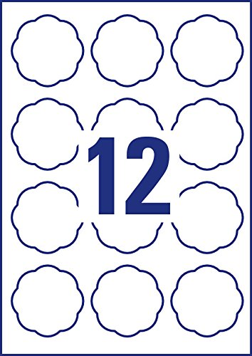 wei/ß abl/ösbar, 60 x 59,5mm auf A4, Blumenform, ideal f/ür Einmachgl/äser, Geb/äckt/üten, Geschenke und Selbstgemachtes aus der K/üche, 120 Aufkleber auf 10 Blatt AVERY Zweckform 5085 Marmeladenetiketten