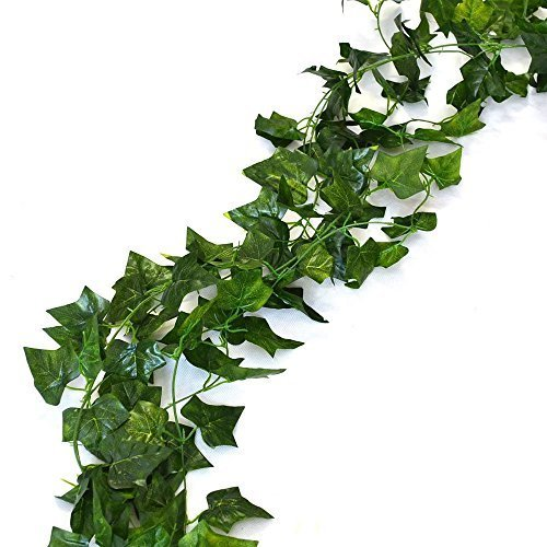 Aketek 75 feet - 12 English Ivy Silk Greenery Wedding Party - Green With Ivy