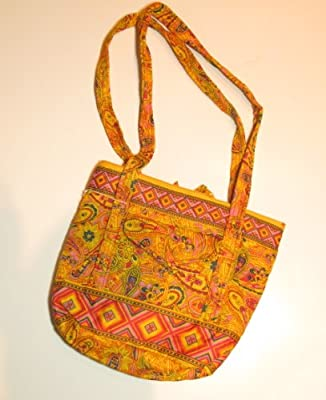 Mother's Day Gift, High Fashion Flap Tote Style Quilted Fabric Zippered Handbag - Golden Paisley Design