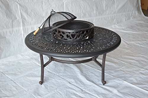 Elizabeth Outdoor Patio Ice Tea and BBQ Fire Pit Round Coffee Table 52