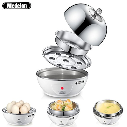 Medelon Egg Boiler, Egg Cooker , Electric Egg Maker with Steamer & Poacher Attachment, Egg Steamer Stainless Steel 7 Egg Capacity With Removable Tray & Auto Shut Off Feature Steamer Stainless Steel Cover