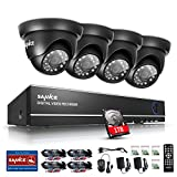 SANNCE 4CH 1080N Home Security System DVR Recorder with 1TB Hard Drive and (4) 1.0MP(1280720) Weatherproof Indoor & Outdoor Day Night Surveillance System CCTV Cameras