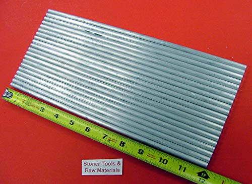 60 Pieces 1/4'' 6061 Aluminum Round Rod 12'' Long Solid .25'' T6511 Lathe Stock