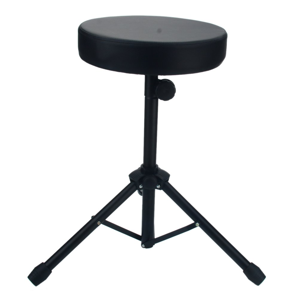 Kuyal Drum Throne Folding Percussion Drum Stool with Anti-Slip Feet-Black(Drum Seat)