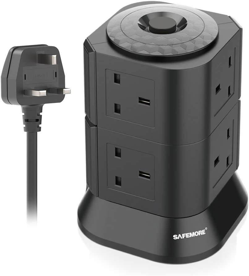 UK Vertical Power Strip with Overload Protection and Child Protection for Dormitory SAFEMORE 8 Gang Extension Lead Surge Protected Multiple Power Plug Extension Tower Charger with 2m Cable Black
