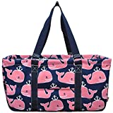 N. Gil All Purpose Open Top 23'' Classic Extra Large Utility Tote Bag 2017 Spring Collection (Whale Anchor Navy Blue)