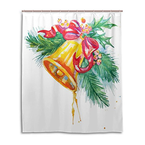 Lattice Sleigh Bed (Merry Christmas Bath Shower Curtain 60x72 Inch,Watercolor Xmas Jingle Bell,Waterproof Polyester Fabric Bathroom)