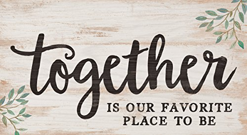 Together Favorite Place to Be Whitewash 5.5 x 10 Solid Wood Plank Wall Plaque Sign