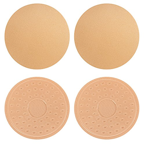 2 Pairs Pasties Womens Reusable Adhesive Nipple Covers Invisible Round Cover Concealers Breast Pads Gel Petals Pasties Bra Pad (Nude Round+Nude Round)