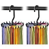 2 Pack IPOW Updated Twirl Tie Rack Belt Hanger Holder Hook for Closet Organizer Storage (Kitchen)