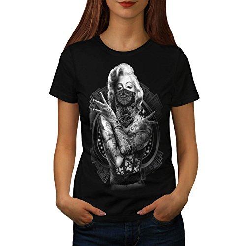 Marilyn Monroe Tattoo Gangster Women NEW M T-shirt | (Famas Assault Rifle)