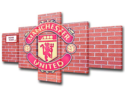 Wall Art Soccer Canvas Pictures Old Trafford Stadium in Manchester 5 Piece Canvas Art Football Sport Painting Prints Contemporary Artwork for Kids Boy Room Office Wall Decor Home Decoration 50