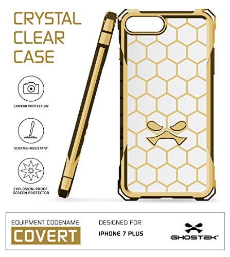 iPhone 7 Plus Case, Ghostek Covert Series for Apple iPhone 8 Plus Premium Hybrid Impact Protective Armor Case Cover | Clear TPU | Explosion-Proof Screen Protector | Ultra Fit | Spring Corners (Gold) (Best Tech Suits For Sprinting)