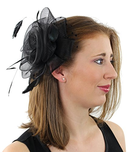 Xoxo Women's Fascinator Hat Clip with Feathers and Polka Dot Accent