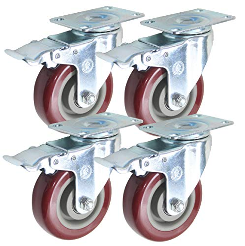 4 inch (Set of 4) with 4 Swivel/Brake Casters - Poly Tread, Sealed Industrial Bearing Wheels - Foghorn Construction