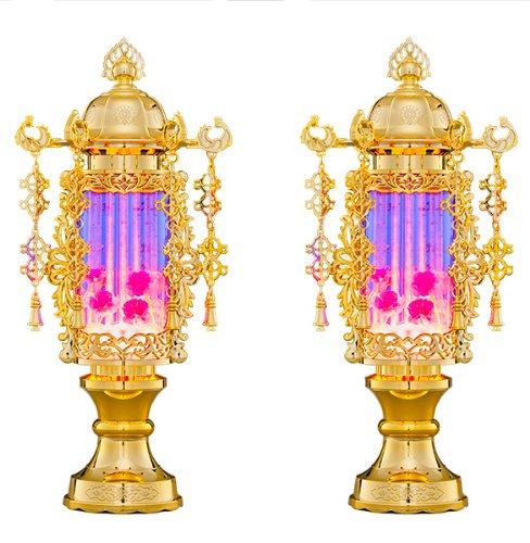 【バブル灯】霊前灯 7号バブルパープルヨーラク付:一対【お盆 提灯】【初盆】 B00K8OD94M