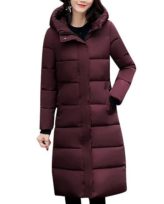 Mujer Slim Fit Abrigos De Invierno Calor Chaqueta con Capucha Larga Parka Vino Rojo 2XL: Amazon.es: Ropa y accesorios