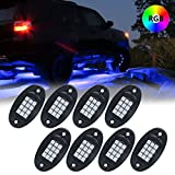 #7: 8 X RGB LED Rock Light Multicolor Neon LED Light Kit with Bluetooth Wireless Remote Control for Jeep Off Road Car Truck ATV SUV Vehicle Boat Underbody Glow Lamp