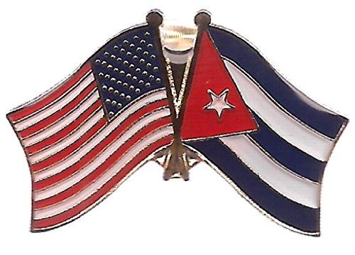 BOX of 12 Cuba & US Crossed Flag Lapel Pins, Cuban & American Double Friendship Pin Badge