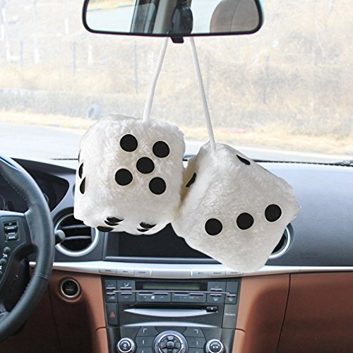 Myhouse Hanging Plush Dice Fuzzy Dice Car Mirror Hangers Auto Accessories Decoration (Color 2) - Dice 2 Fuzzy