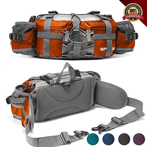 Outdoor Fanny Pack Hiking Camping Biking Waterproof Waist Pack 2 Water Bottle Holder Sports Bag For Women And Men Orange