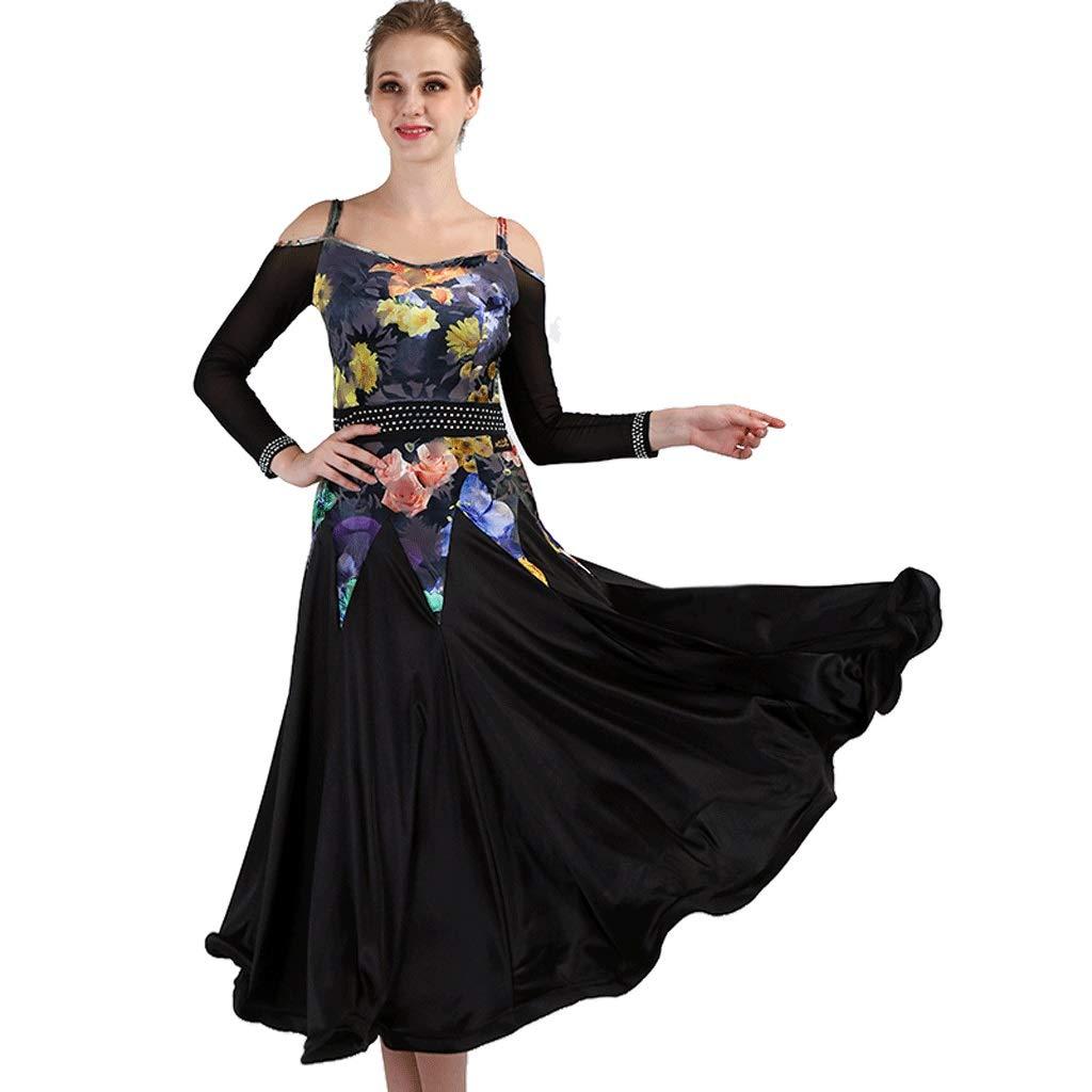 現代のダンスドレスプリント肩長袖社交ダンススカート全国標準のダンス衣装 B07R16G7NR ブラック M m