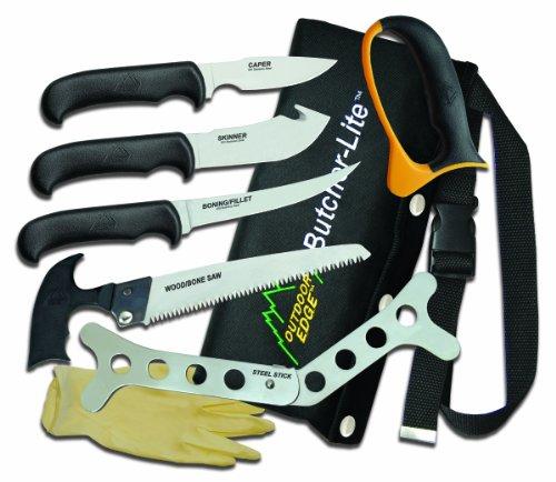 Outdoor Edge Butcher-Lite BL-1 Lightweight 8-Piece Butcher Kit with Belt Scabbard, Outdoor Stuffs