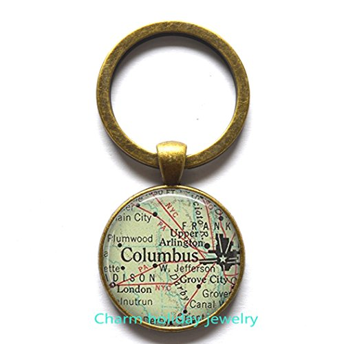 Columbus map Key Ring, Columbus map Keychain, Columbus map jewelry, Columbus Ohio,art map charm map jewelry us map (Halloween Columbus Ohio)