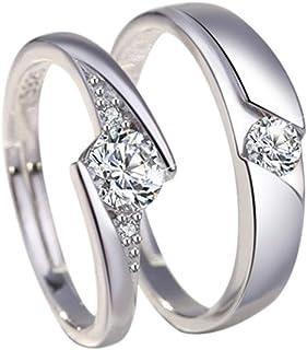 Monbedos 2 x Coppia Anelli in Argento Anello di Fidanzamento Diamante Anelli Coppia Anelli per Lui e per lei