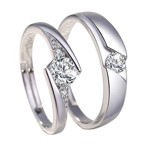 Monbedos - Anillo de compromiso de plata con diamante para pareja y ella (2 unidades
