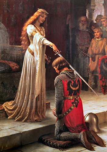 Edmund Blair Leighton - The Accolade, Size 16x24 inch, Poster art print wall décor (Print Poster Accolade)
