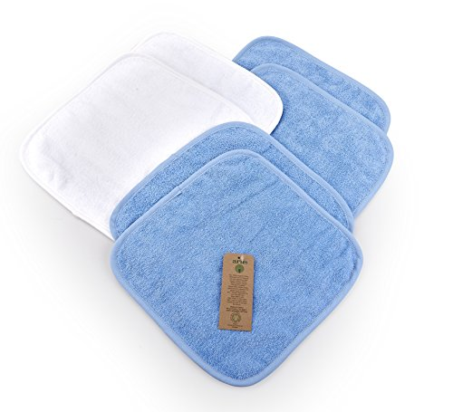 Arus Baby Organic Turkish Cotton Soft Sensitive Natural Washcloths, 6 Pack (4 Blue, 2 White), 12''x12'' by Arus