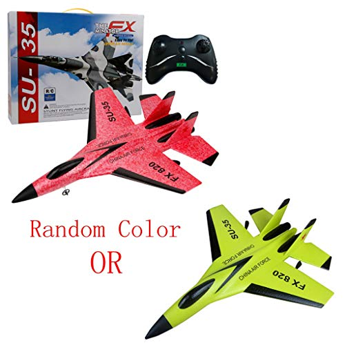 SU-35 RC Plane,Remote Control Helicopter Plane Glider Airplane EPP Foam 3.5CH Toys (Yellow or red, SU-35)