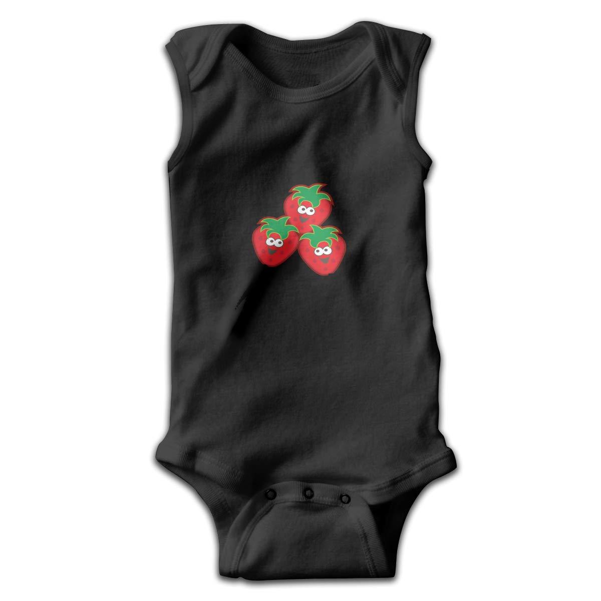 Efbj Newborn Baby Boys Rompers Sleeveless Cotton Onesie,Strawberry Social Outfit Spring Pajamas