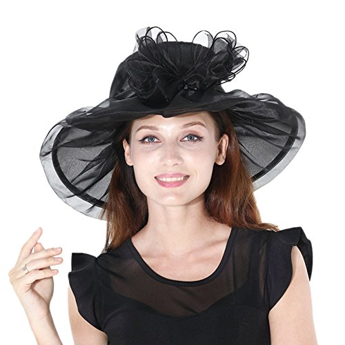 Dantiya Women's Colorful Organza Kentucky Wide Brim Bow Derby Sun Hat (Black)
