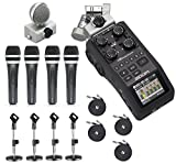 zoom h6 module - Zoom H6 Six-Track Portable Handy Recorder with the Movo Podcasting Bundle including 4-Pack of Handheld Microphones, Tabletop Mic Stands, Clips & Cables