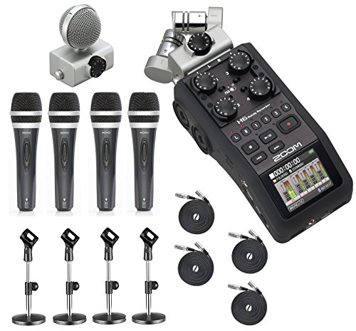 (Zoom H6 Six-Track Portable Handy Recorder with the Movo Podcasting Bundle including 4-Pack of Handheld Microphones, Tabletop Mic Stands, Clips &)