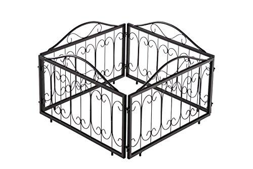 CLP 4er Set Beetzaun BENDIX, Eisen massiv, Breite 4 x 57 cm = 228 cm, Höhe 34 cm, endlos erweiterbar, Beeteinfassung mit wunderschönen Verzierungen schwarz