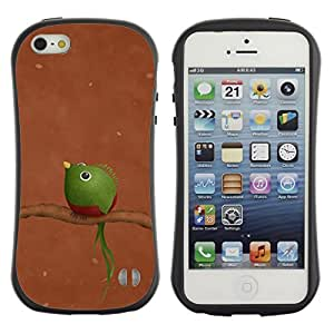 Fuerte Suave TPU GEL Caso Carcasa de Protección Funda para Apple Iphone 5 / 5S / Business Style Branch Brown Green Funny Art